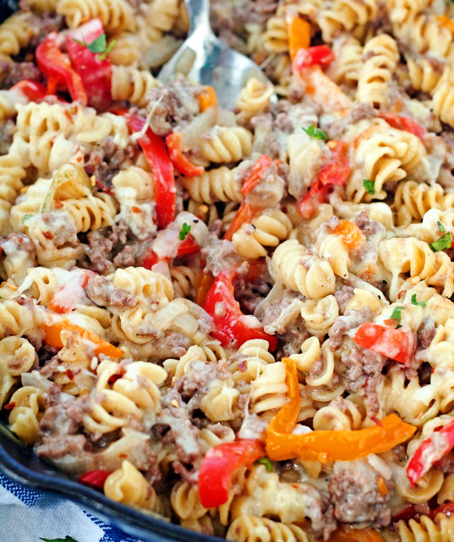 Pan of Philly Cheesesteak Pasta Skillet