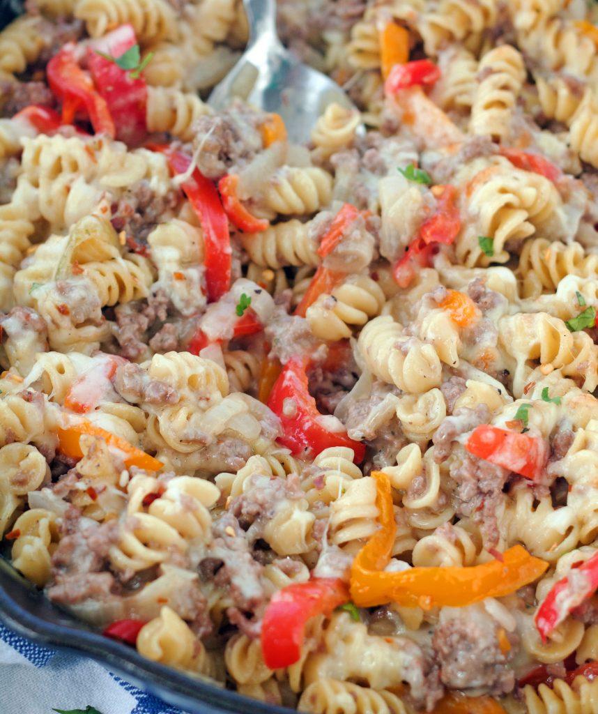 Skillet of Philly cheesesteak pasta