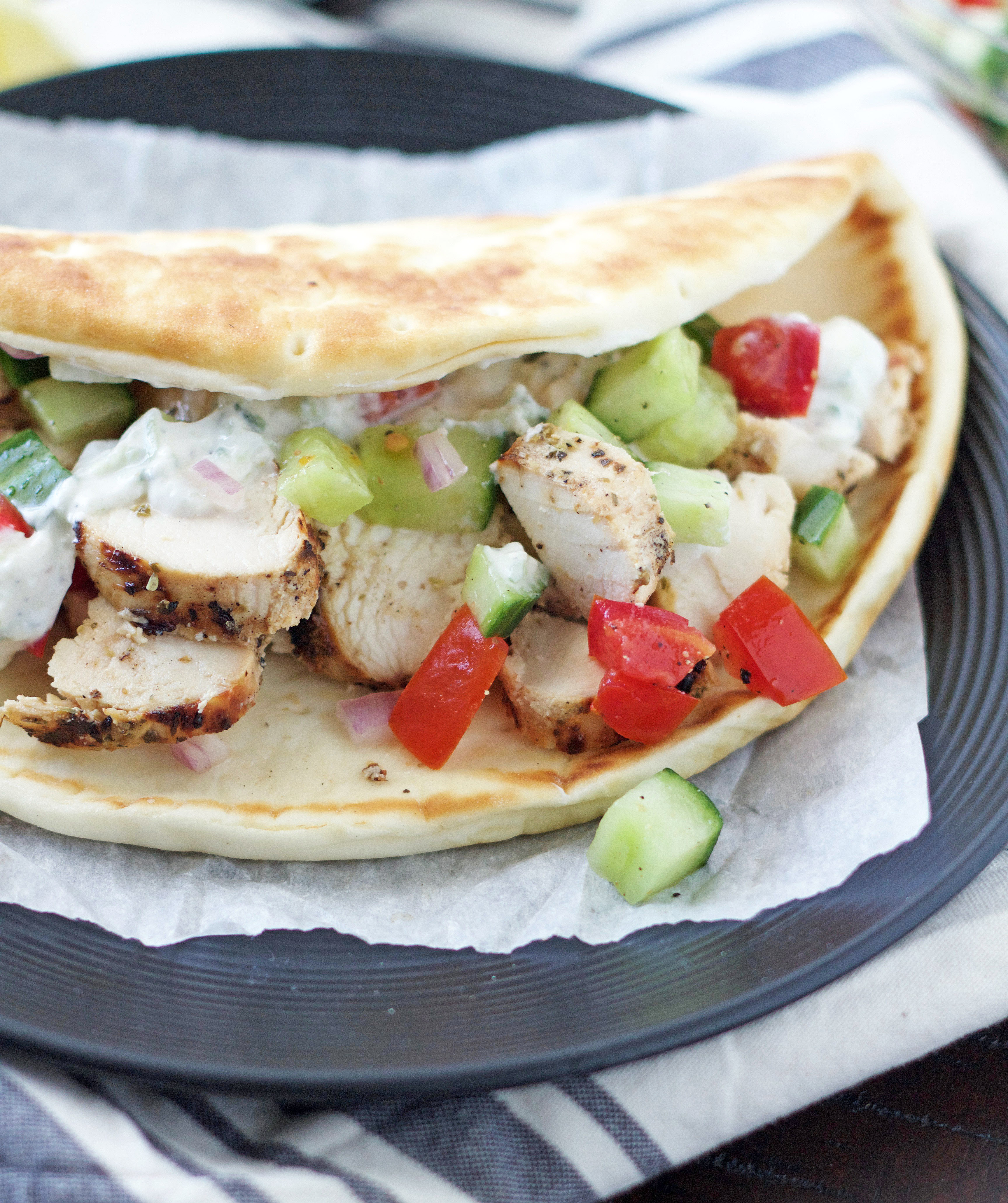 Up close shot of a chicken gyro