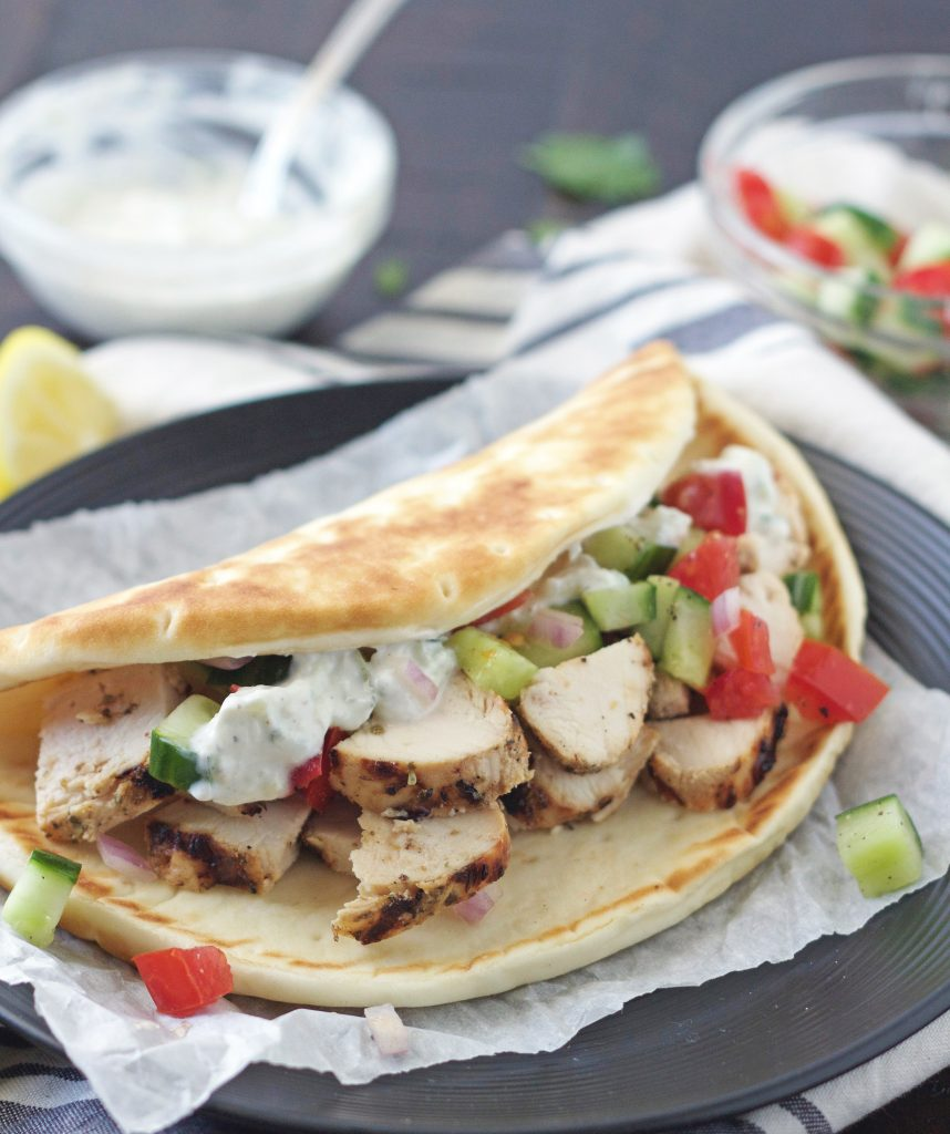 Plate with a Chicken Gyro on it