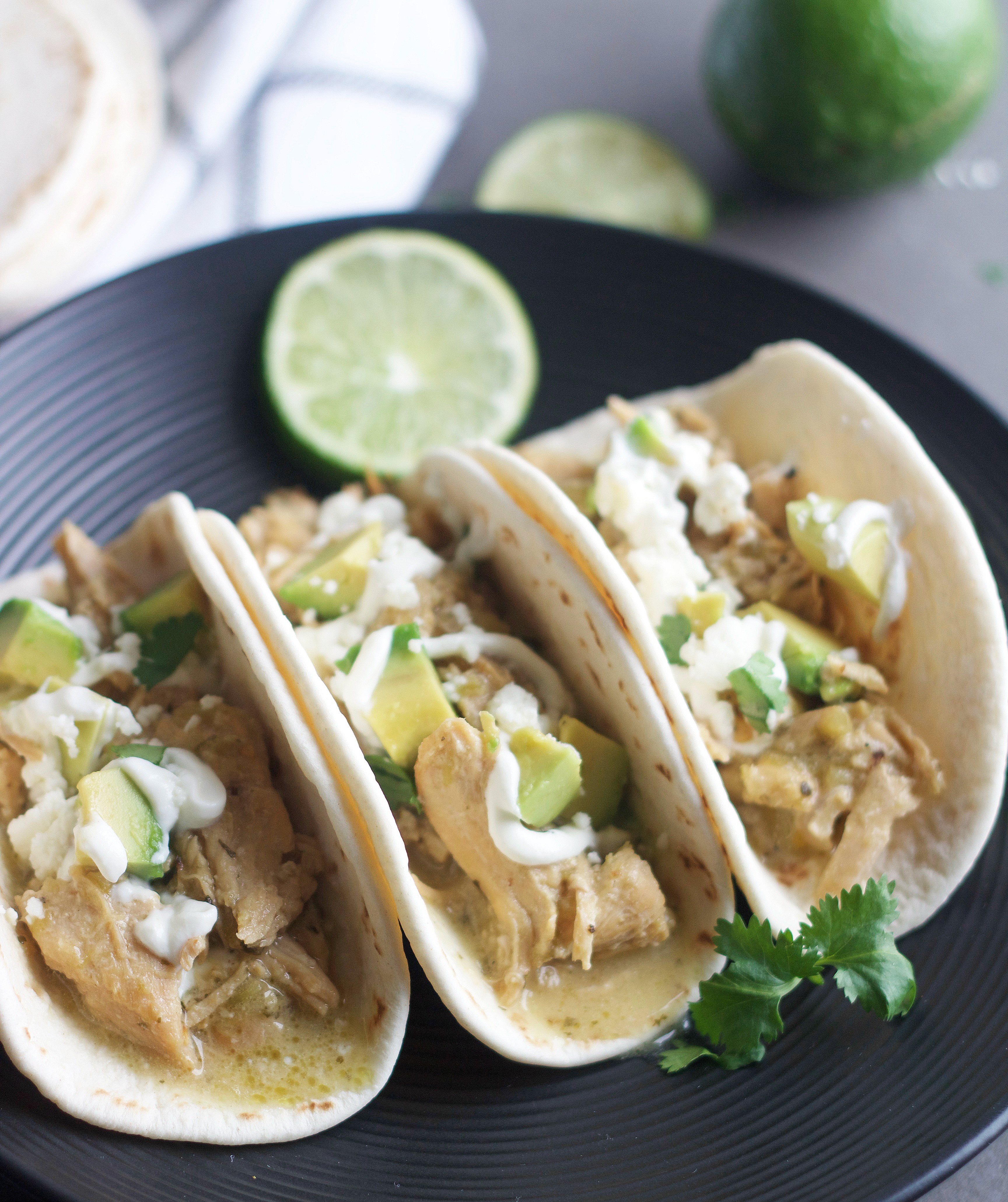 Plate with 3 Zesty Lime Chicken Tacos