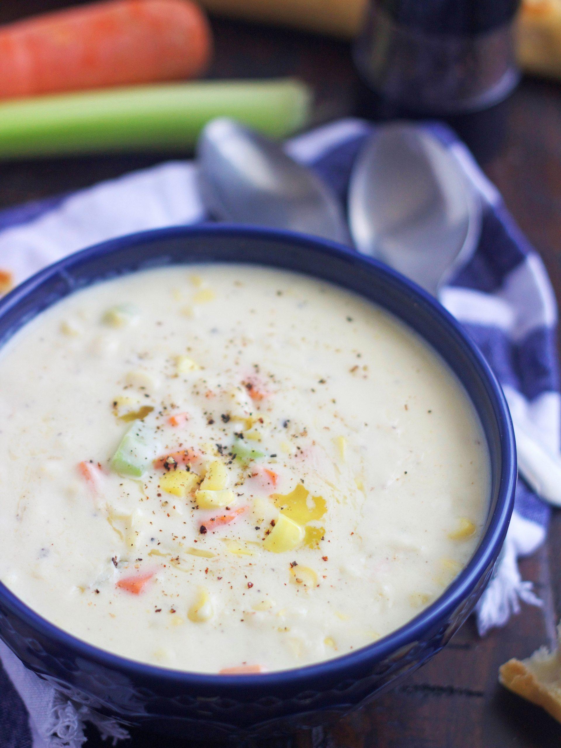 bowl of chef jack's corn chowder