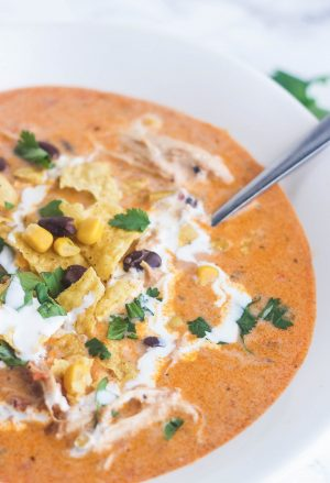 chicken nacho soup in bowl