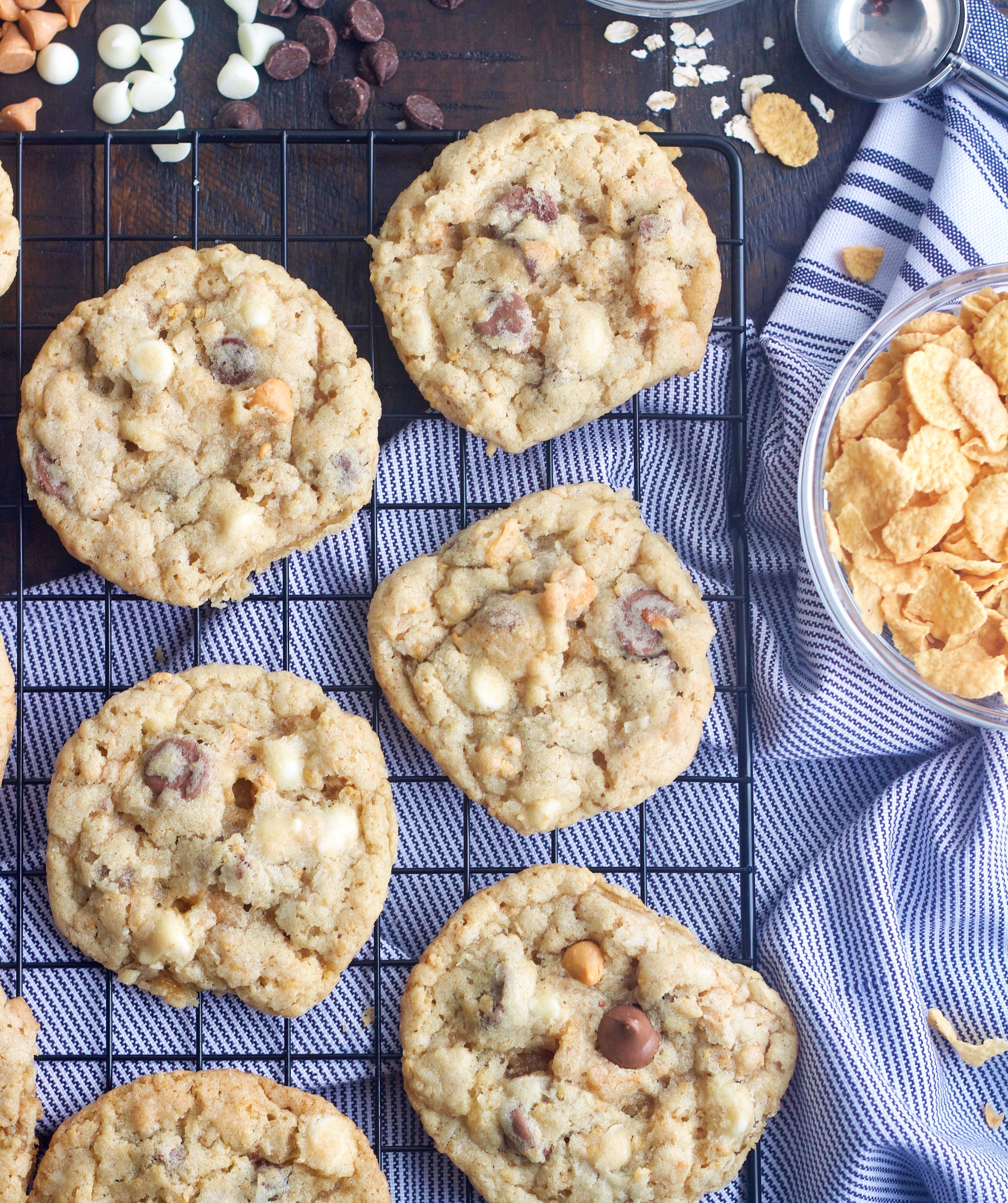 Overhead shot of Cornflake Crisp Cookies