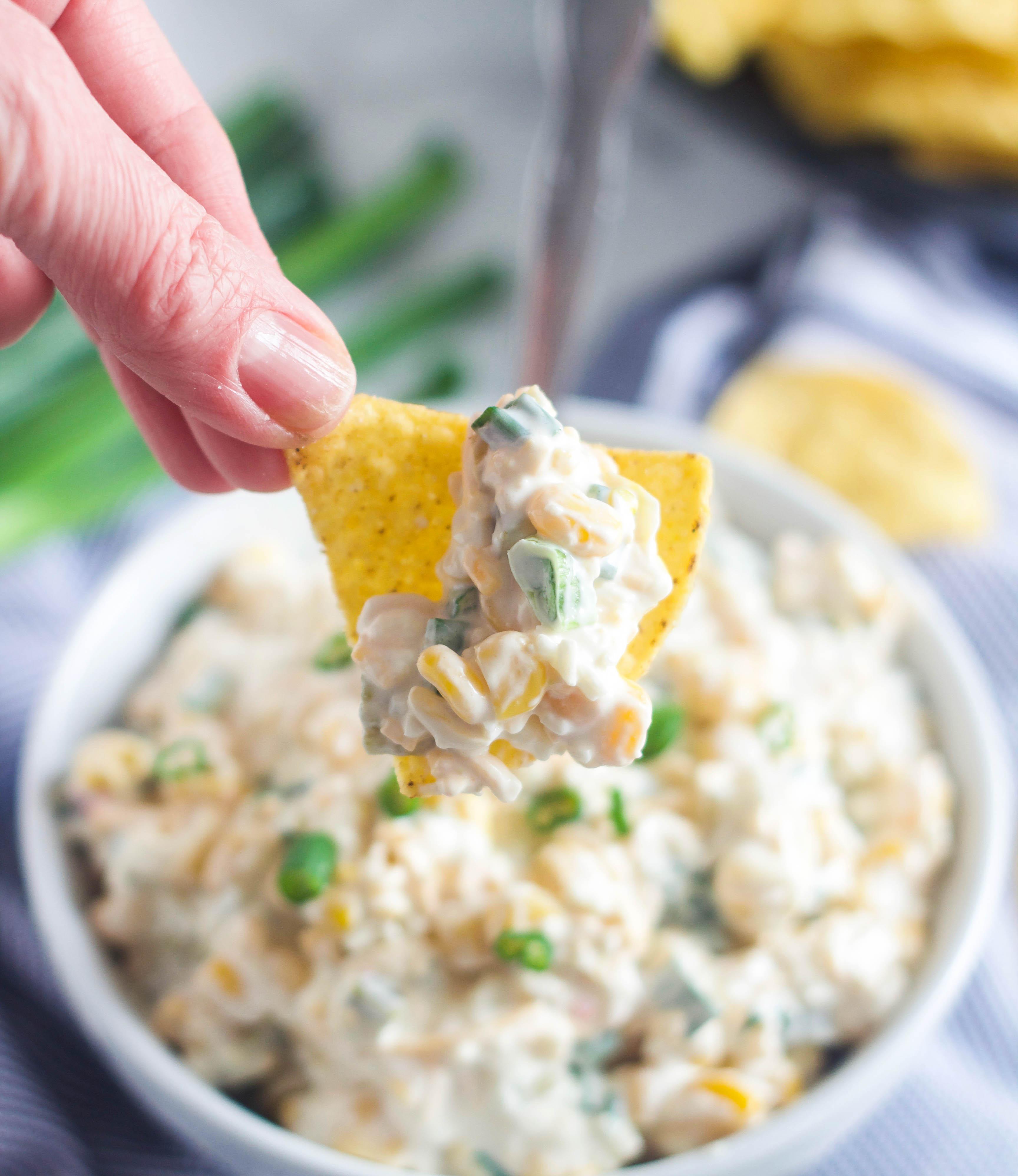 Crack corn dip on a chip