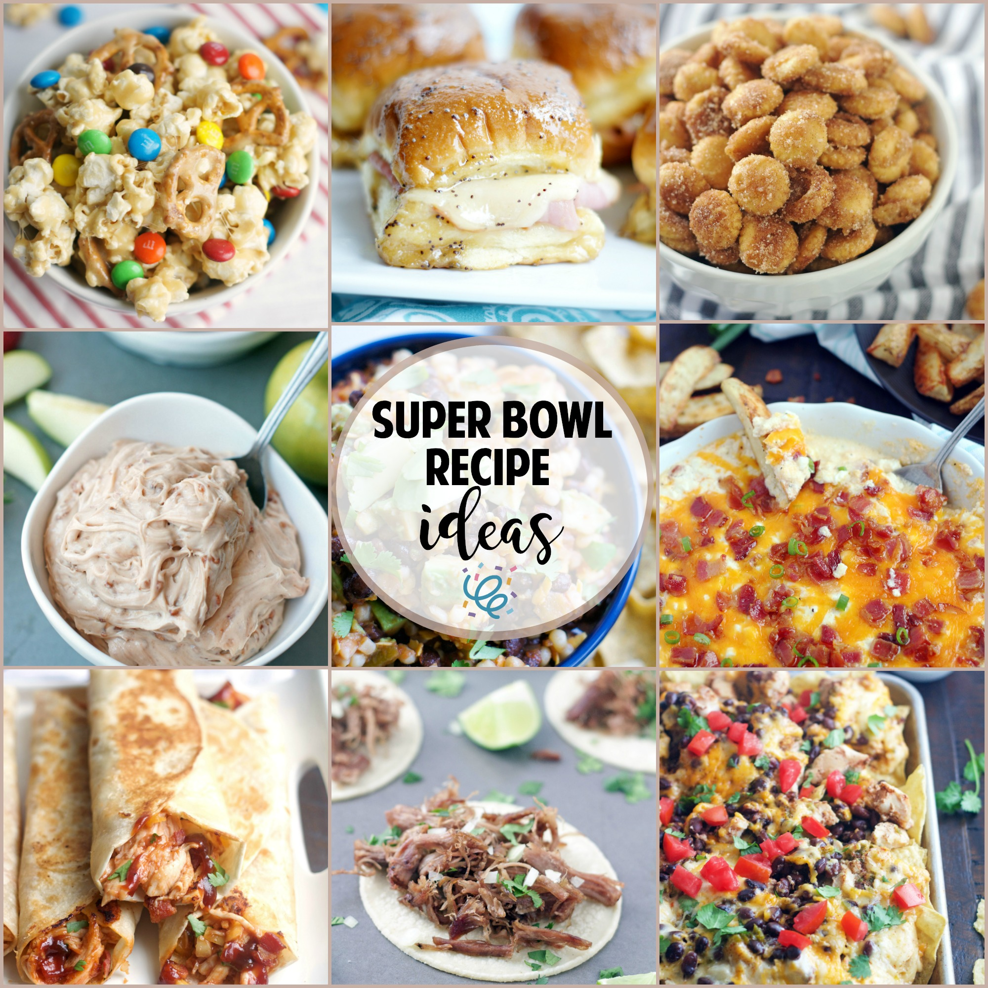 collage of super bowl food ideas