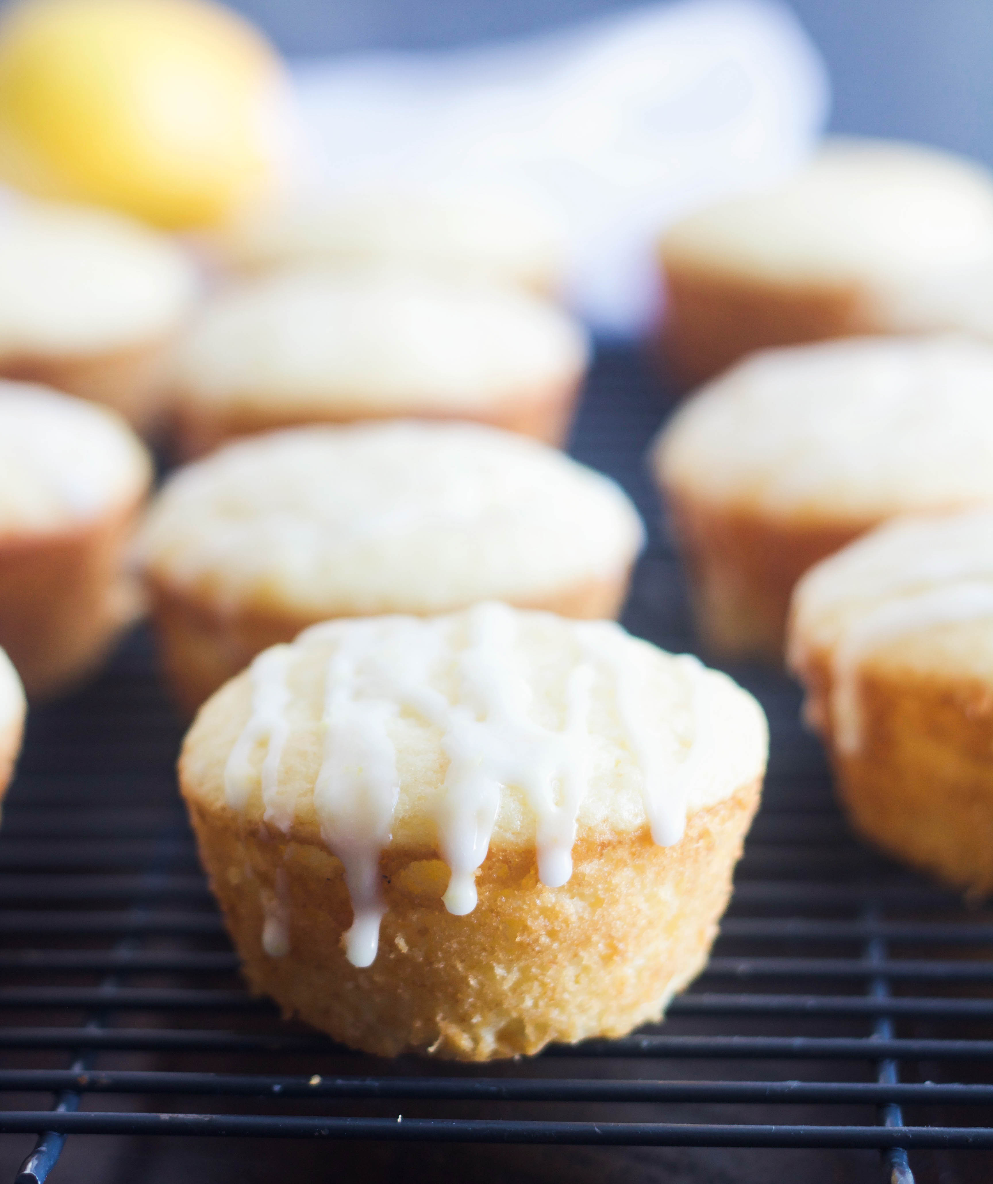 Lemon sour cream muffin on cooling rack