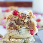 stack of Valentine soft and chewy M&M chocolate chip cookies