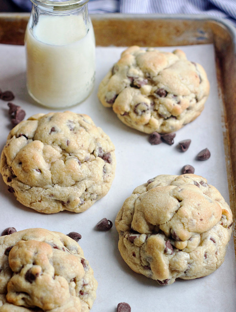 Cookie sheet of copycat Levain Bakery Chocolate Chip Cookies