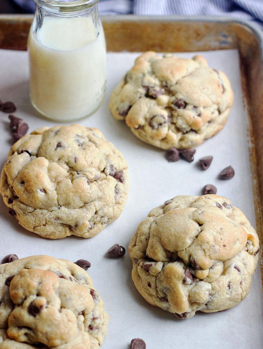 Cookie sheet of copycat Levain Bakery Chocolate Chip Cookies
