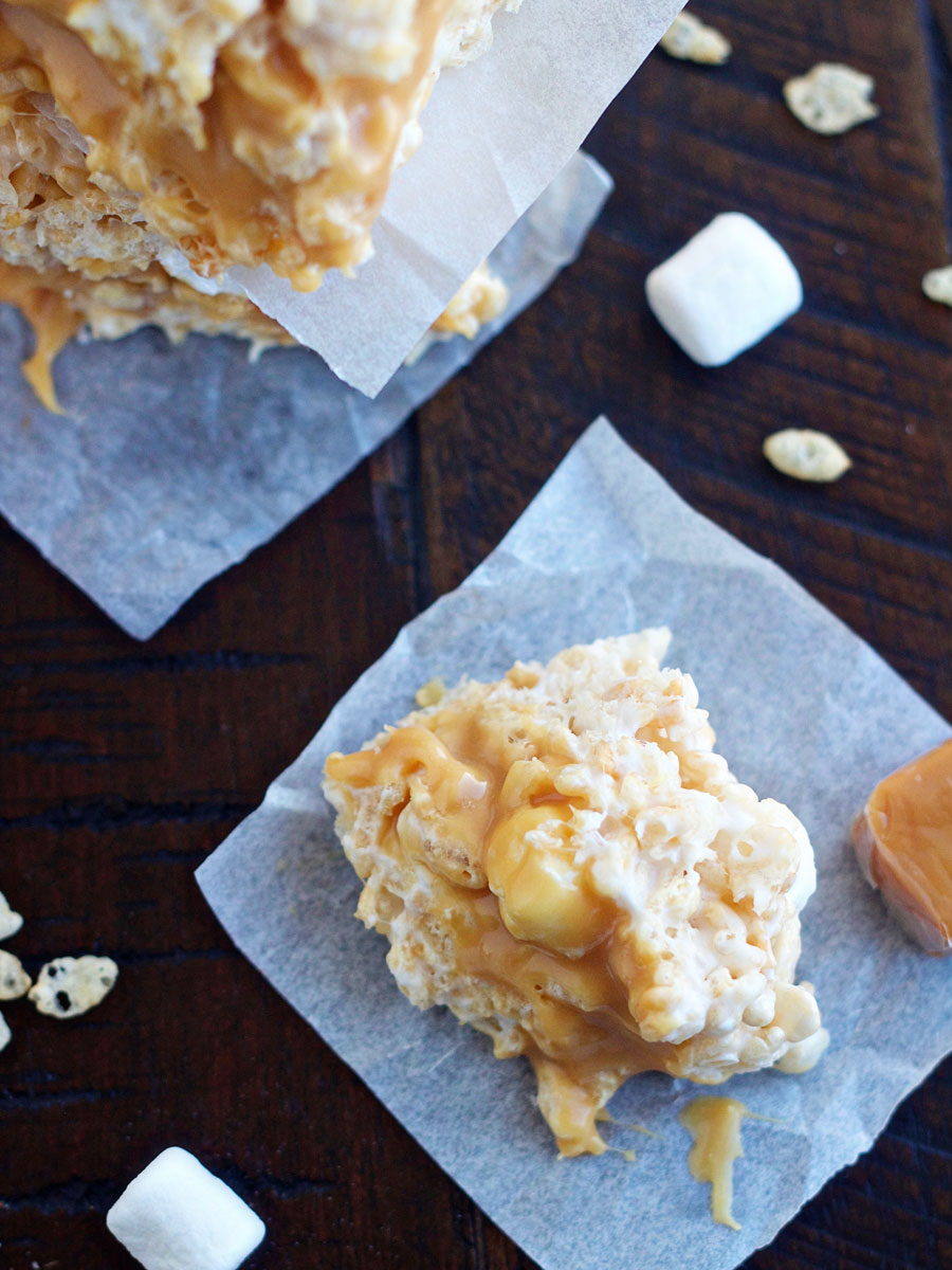 caramel stuffed rice krispie treat