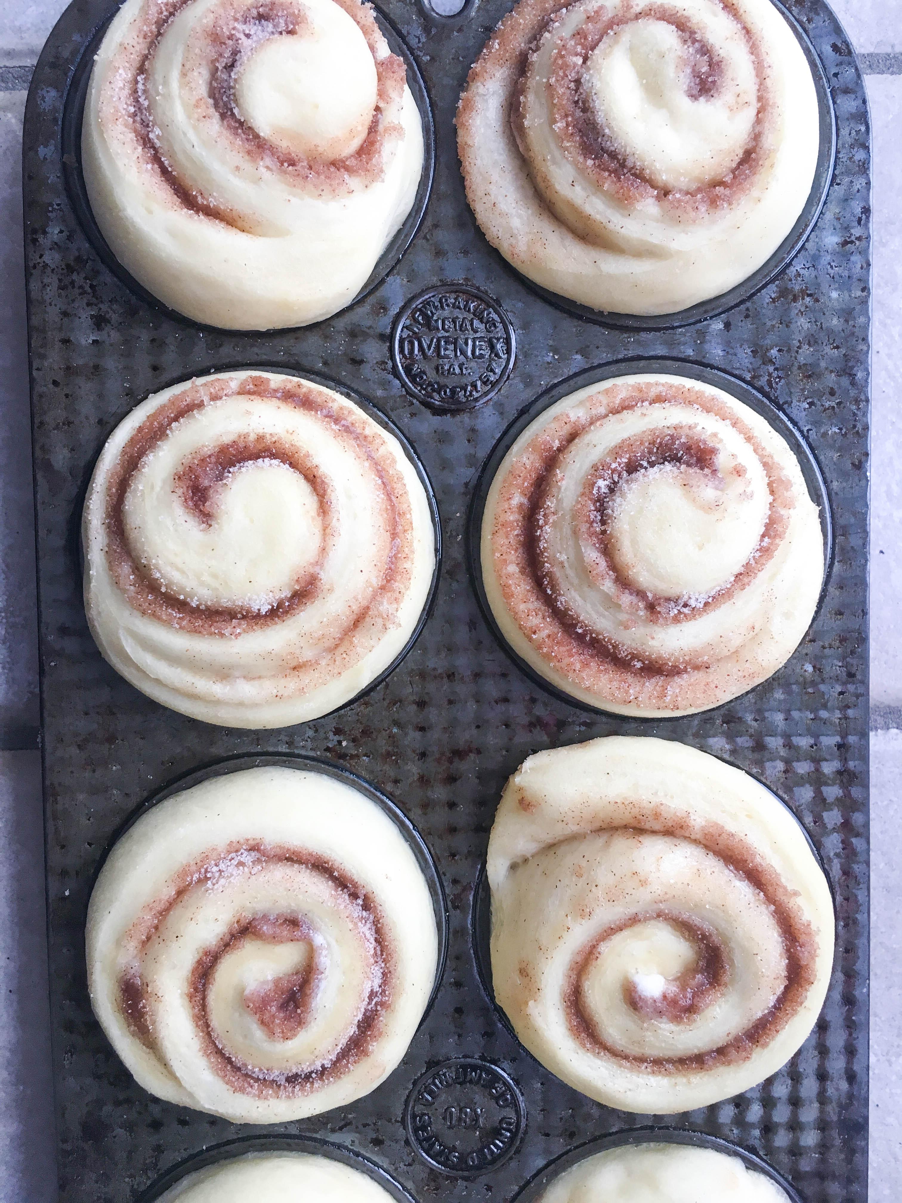 muffin tin cinnamon rolls raising in pan