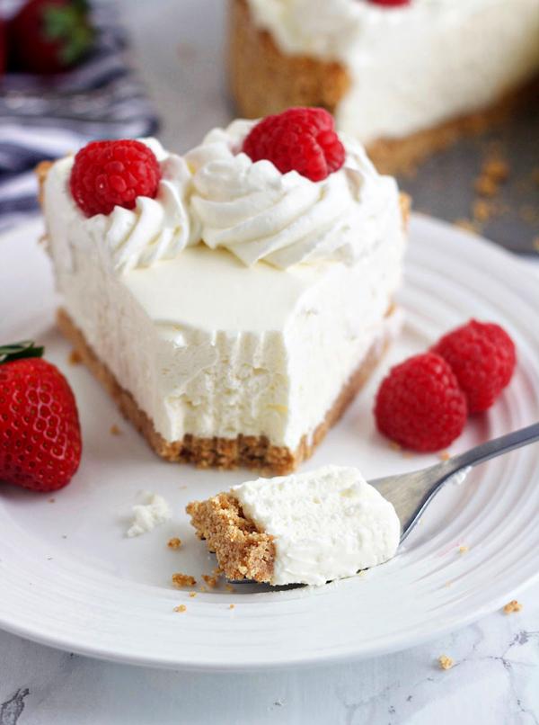 A slice of no-bake cheesecake