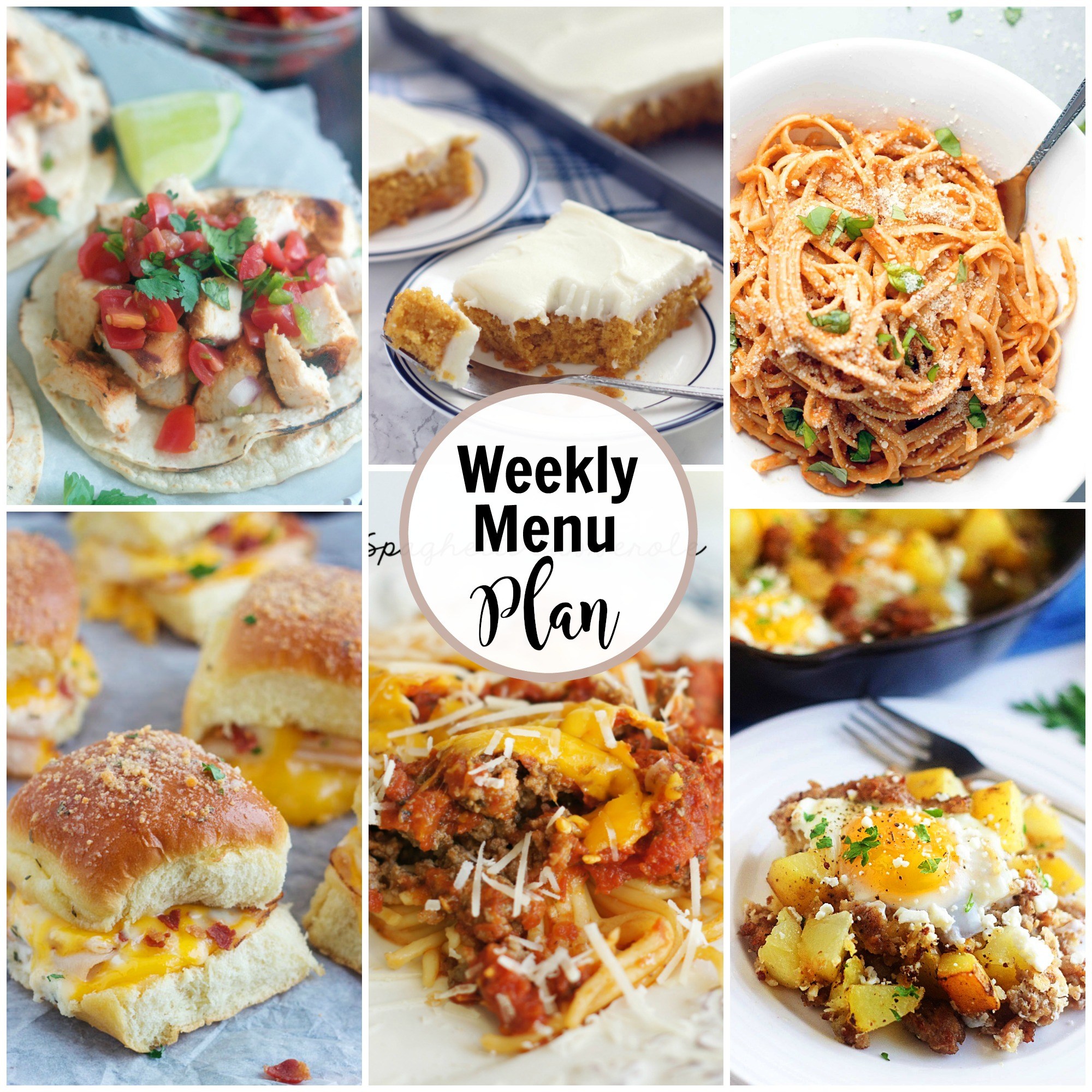 weekly menu plan collage