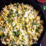 Breakfast Burrito Skillet Meal in cast iron skillet