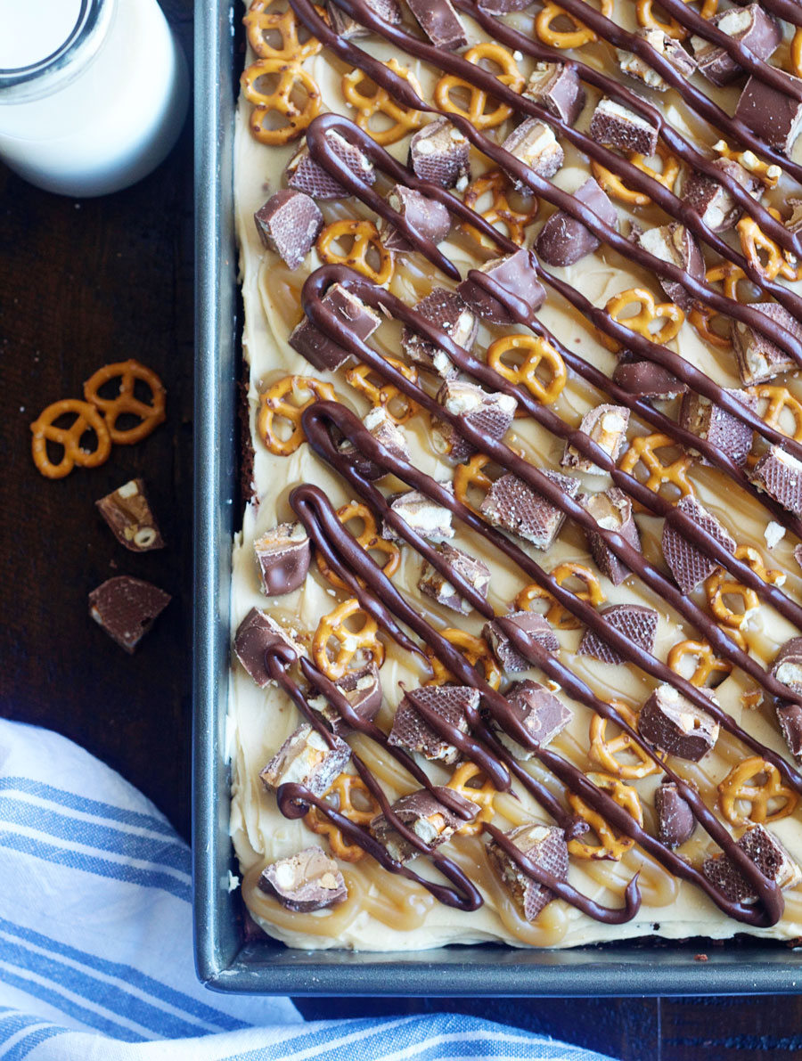 Top view of a pan of Take 5 Brownies