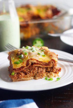 Plate of Beef Enchilada Casserole