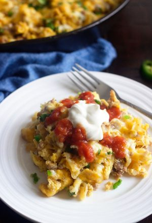 Plate of Breakfast Burrito Skillet Meal