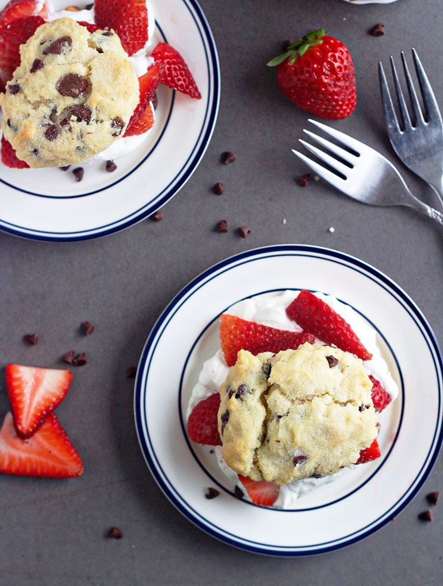 Overhead shot of chocolate chip strawberry shortcakes
