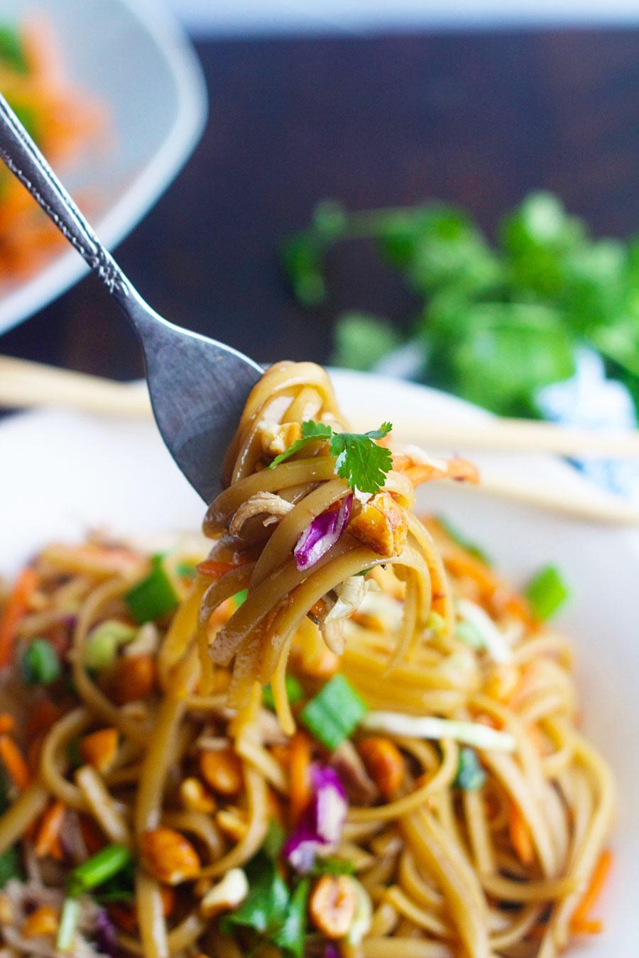 fork full of easy thai noodles