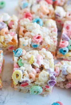Close up of Fruit Loop Rice Krispie treats cut into squares