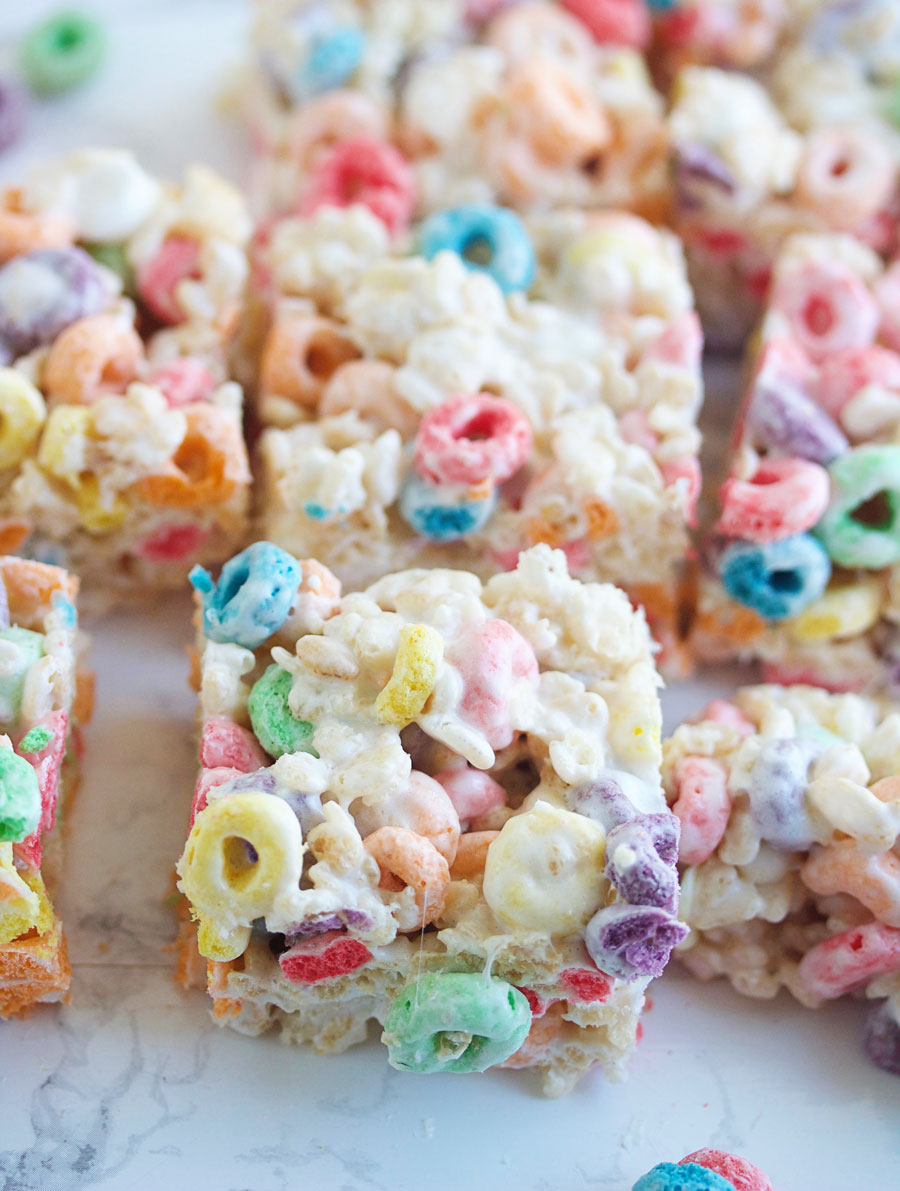 Close up of Fruit Loop Rice Krispie treats cut into squares