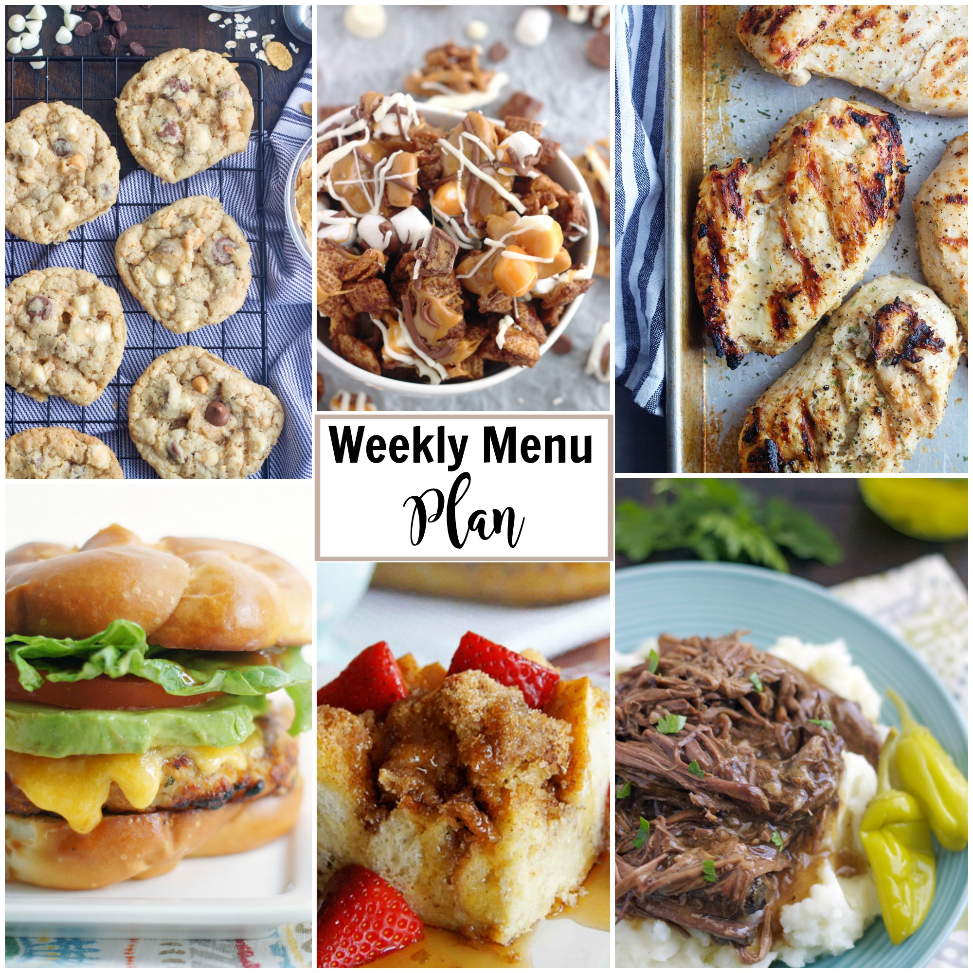 A collage of a weekly menu plan