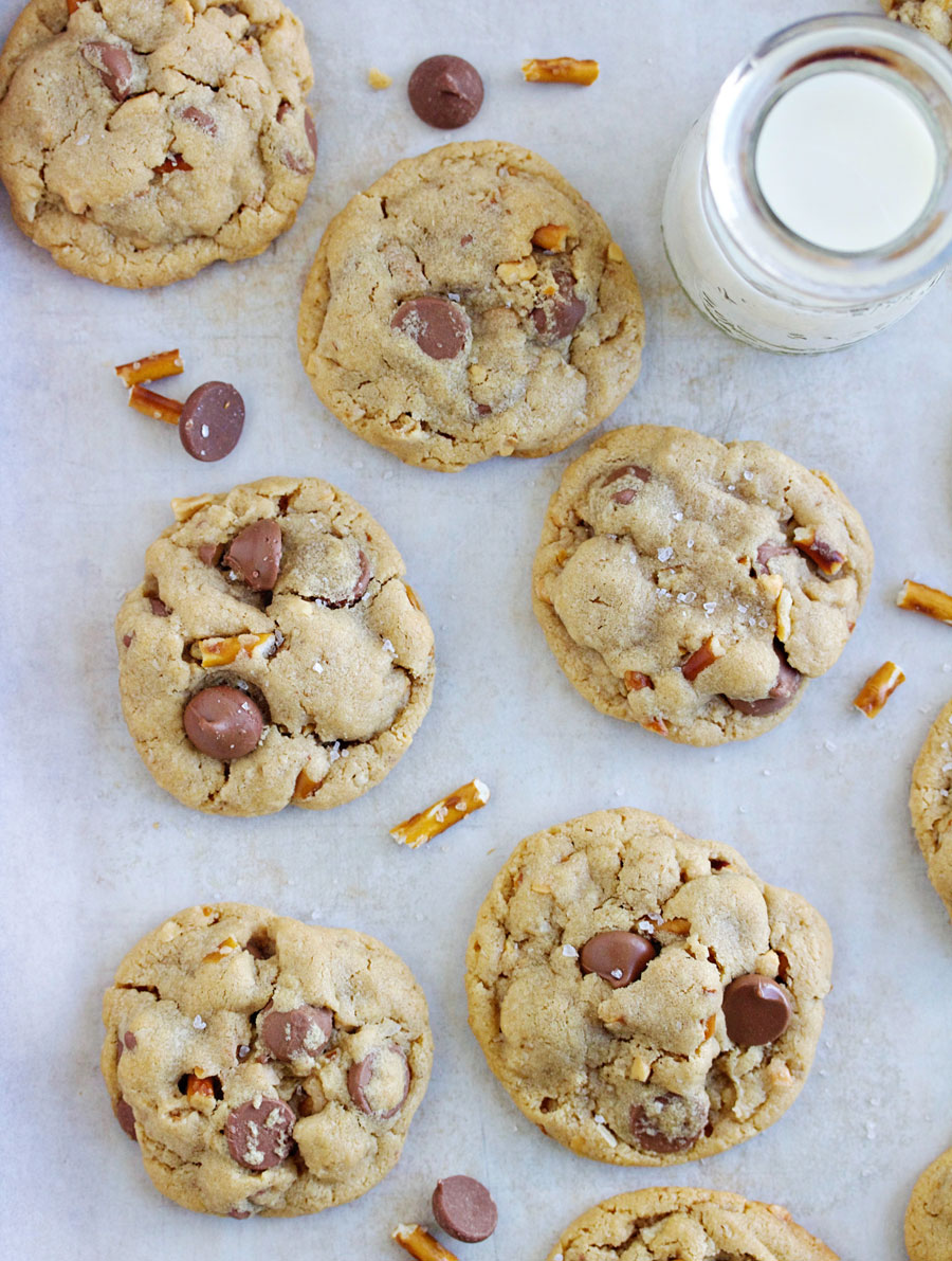 Cookies sheet of salted peanut butter pretzel chocolate chip cookies
