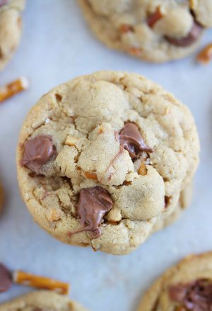 Up close shot of a salted peanut butter pretzel chocolate chip cookie