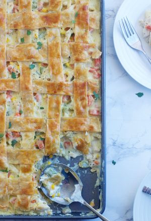 Sheet Pan Chicken Pot Pie with a scoop taken out