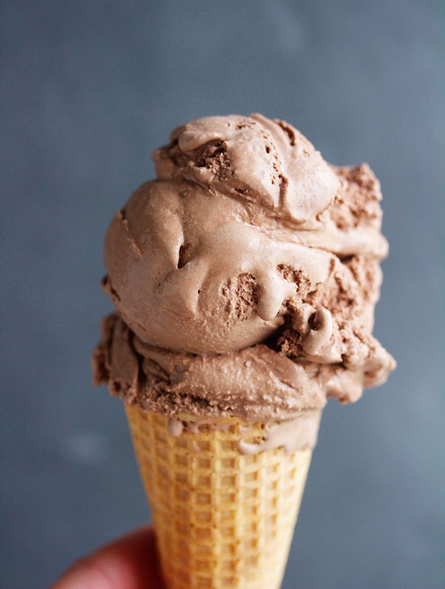ice cream cone of simple and decadent homemade chocolate ice cream