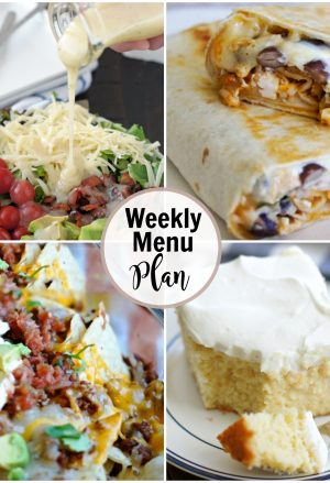 Collage of weekly menu plan meal ideas