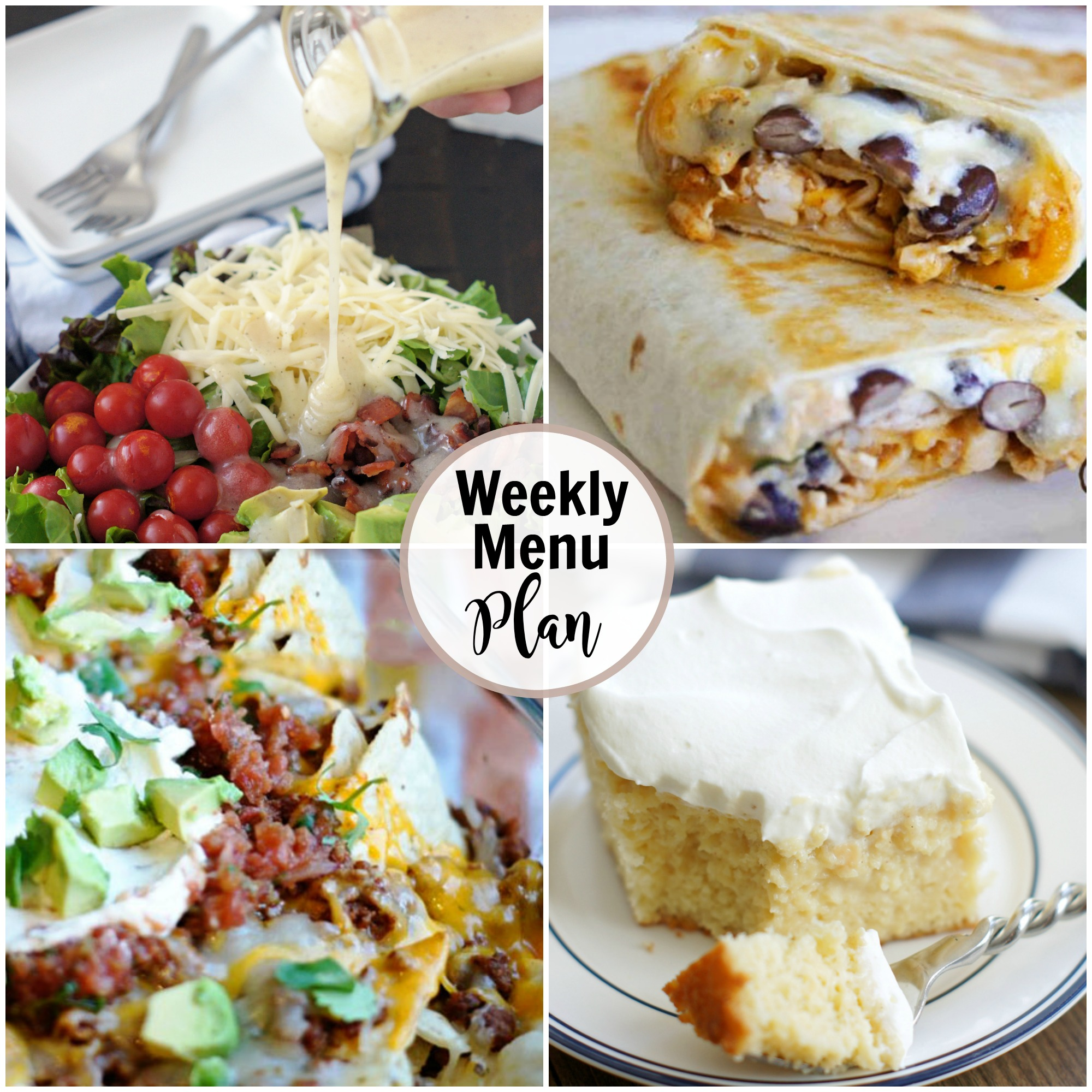 Collage of weekly menu plan meal ideas