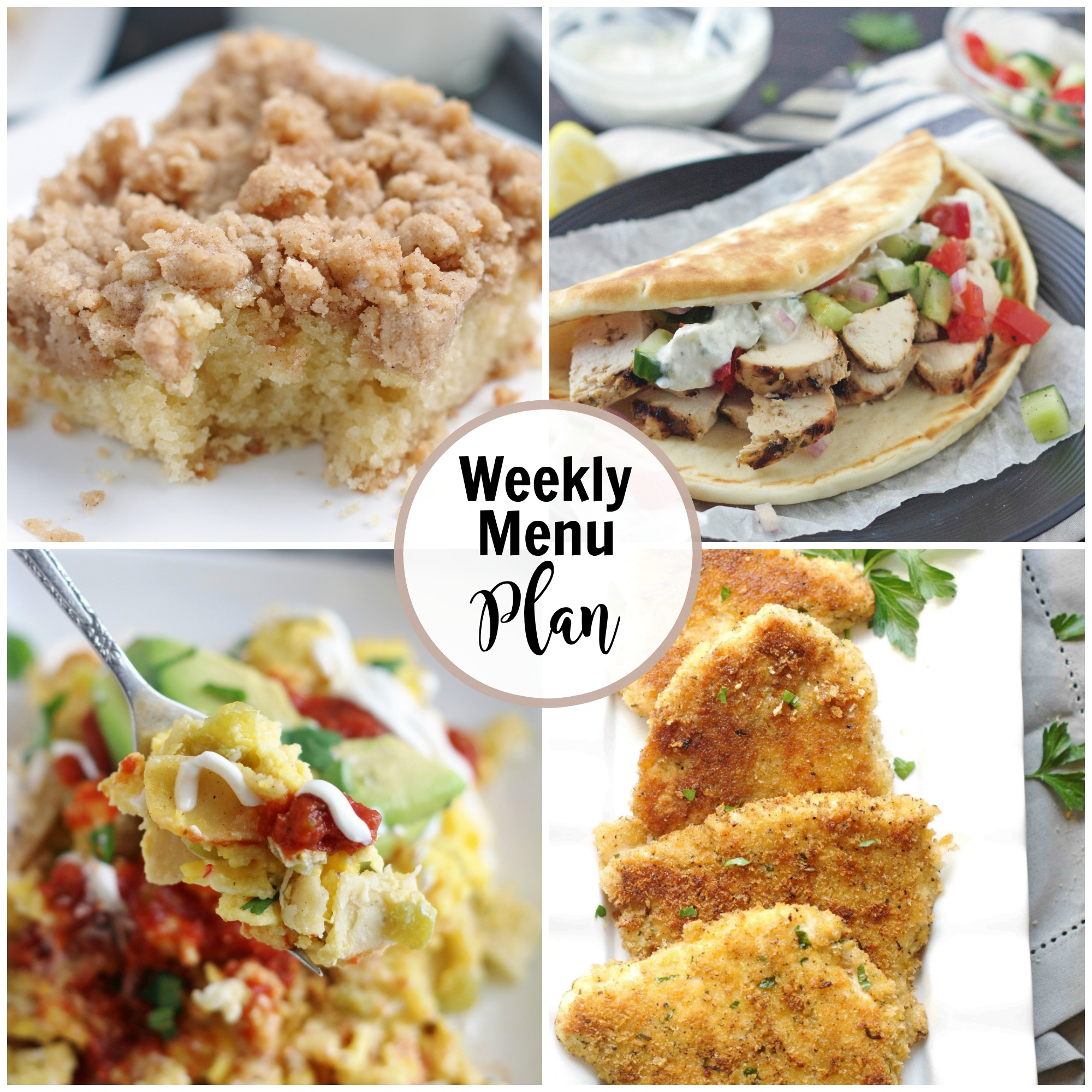 A collage of weekly menu dinner ideas