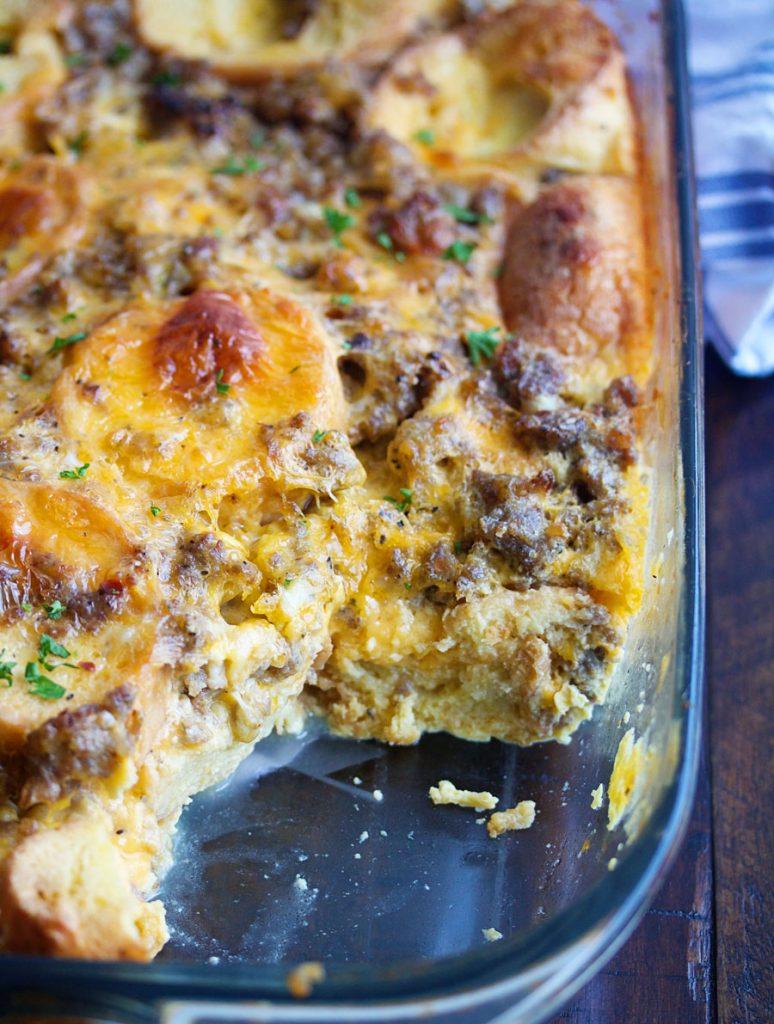 Pan of Make Ahead Breakfast Casserole