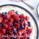 overhead shot of a vanilla cream fruit tart