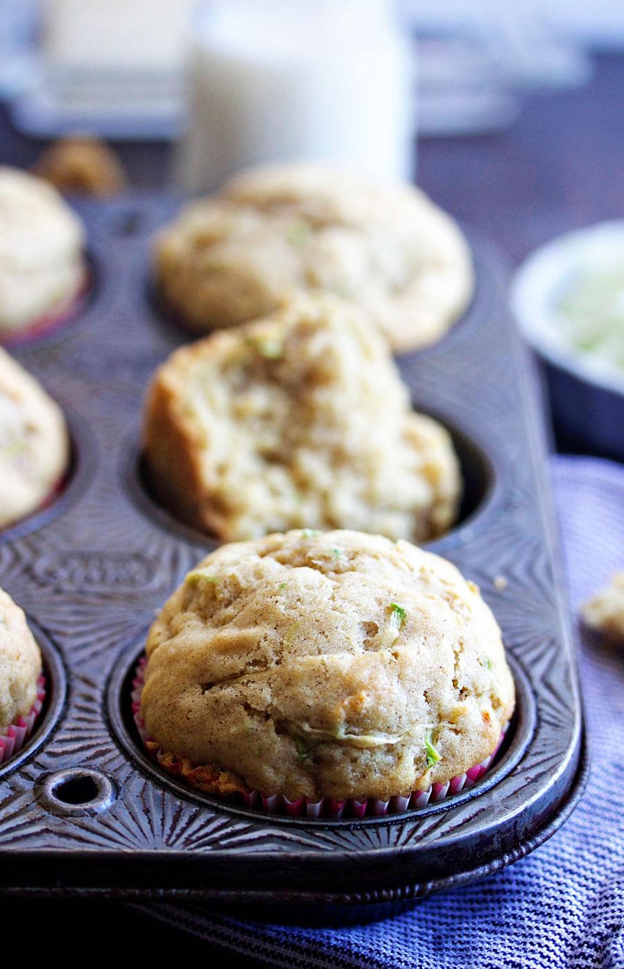 close up of a one bowl zucchini muffin