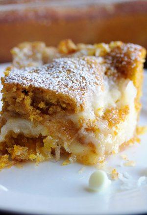 up close shot of pumpkin earthquake cake