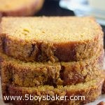 three slices of pumpkin bread stacked on top of each other