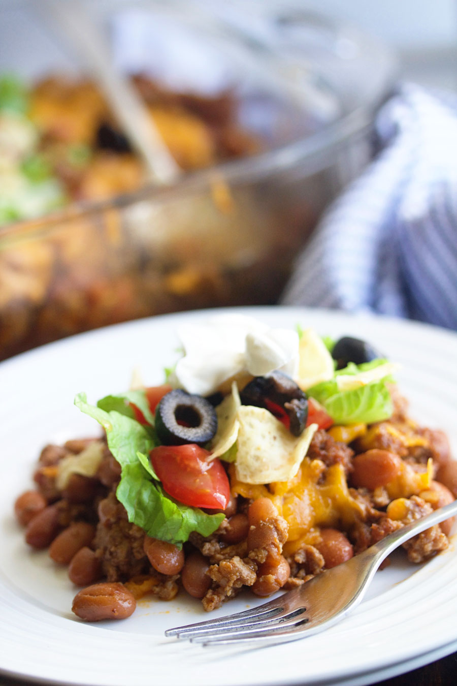 up close shot of a plate of simple taco casserole