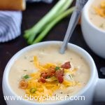 bowl of instant pot potato soup with cheese and bacon on top