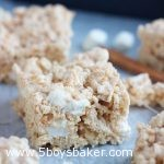 snickerdoodle rice krispie treats on parchment paper