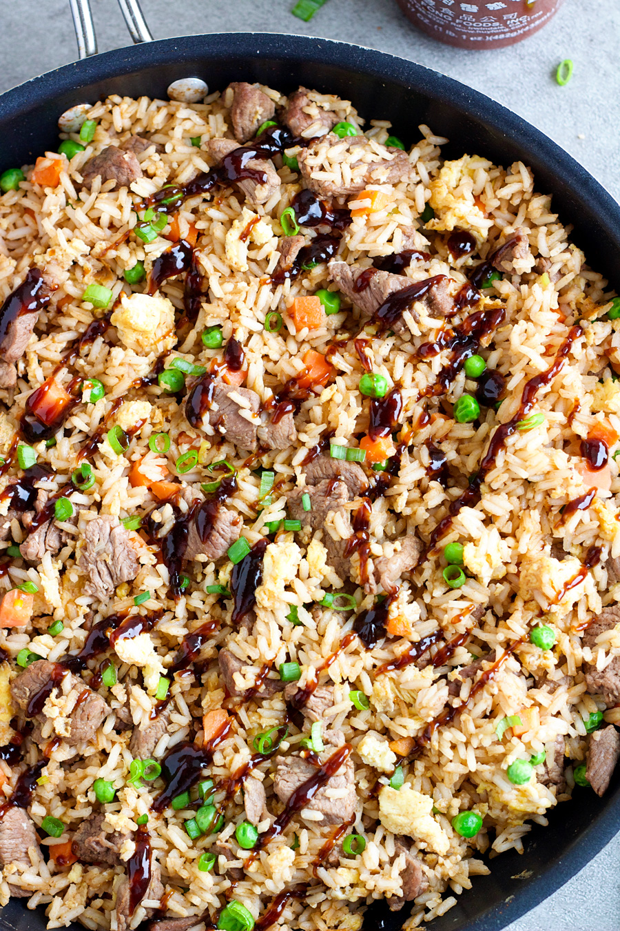 Overhead shot of a pan of Steak Fried Rice