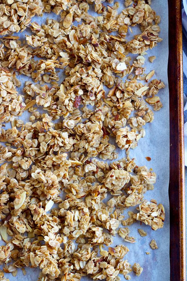 pan of maple-almond skillet granola