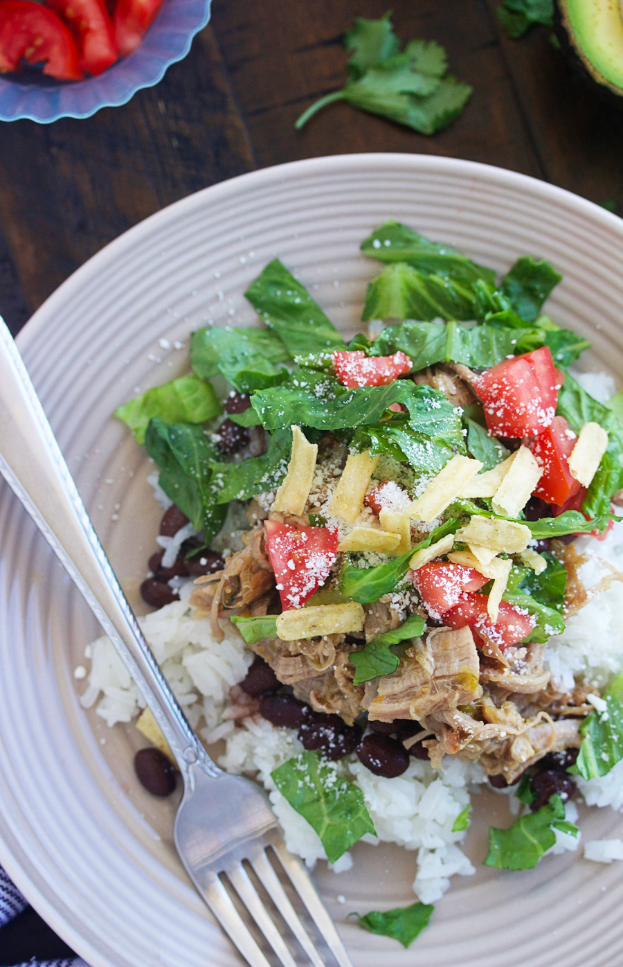 sweet pork and coconut rice salad
