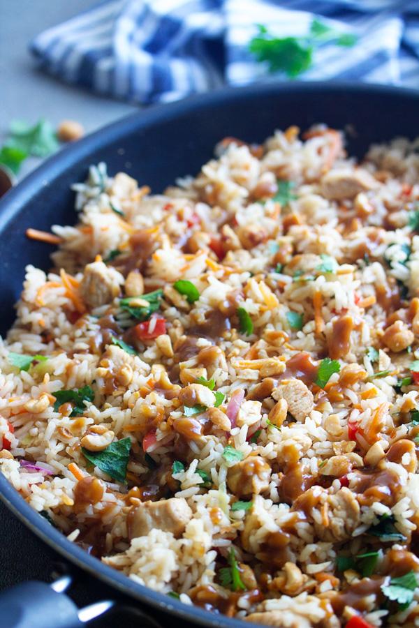pan of thai chicken & rice skillet meal